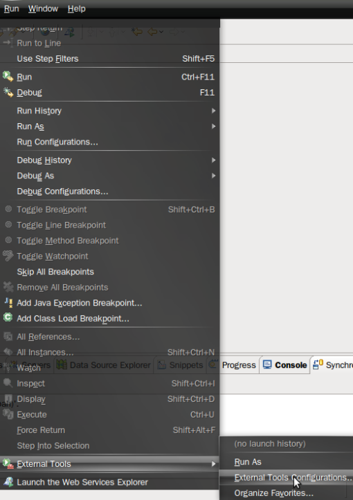 Choose External Configuration Menu to Run Maven2